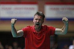 Takhle vypadá volejbalová radost v podání trenéra Petra Broma.