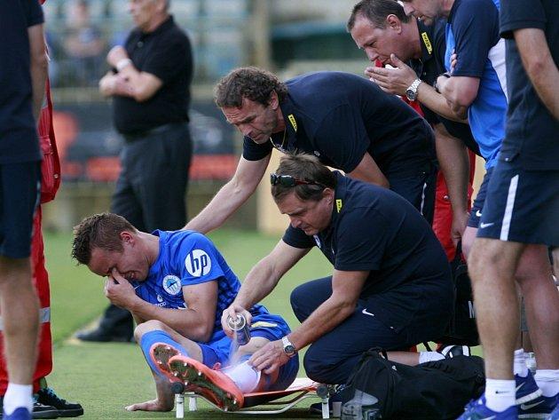 Josef Šural dal v Č. Budějovicích krásný gól, poté ale pro zranění ze hry odstoupil.