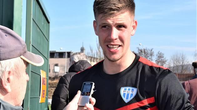 Adrián Čermák odpovídá po zápase Táborska v Písku na dotazy Deníku jižní Čechy.