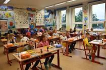První školní den v Boršově nad Vltavou.