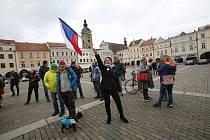 Na českobudějovickém náměstí Přemysla Otakara II. se v sobotu od 14 hodin demonstrovalo proti zpřísněným opatřením proti covidu-19.