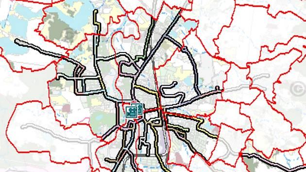 Mapa Č. Budějovic