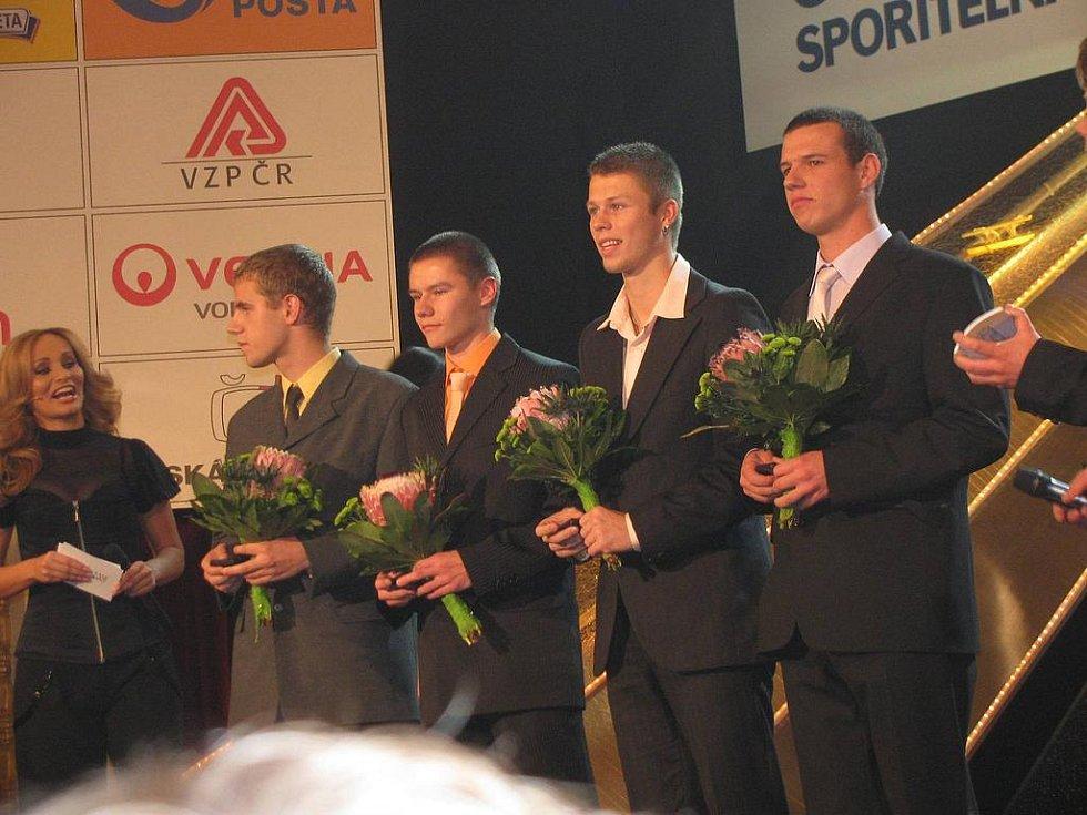 Vyhlášení ankety Atlet roku 2009,(zleva) moderátorka  Absolonová, Zich, Maslák, Šťastný  a Říčař.