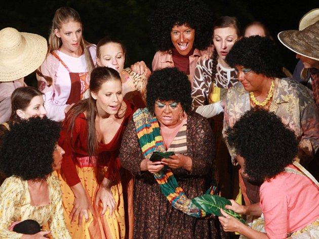 Muzikál Divotvorný hrnec má 26. června premiéru před otáčivým hledištěm v Českém Krumlově. Jihočeské divadlo posílilo několik hostů, například Radka Fišarová nebo  Jan Kříž.