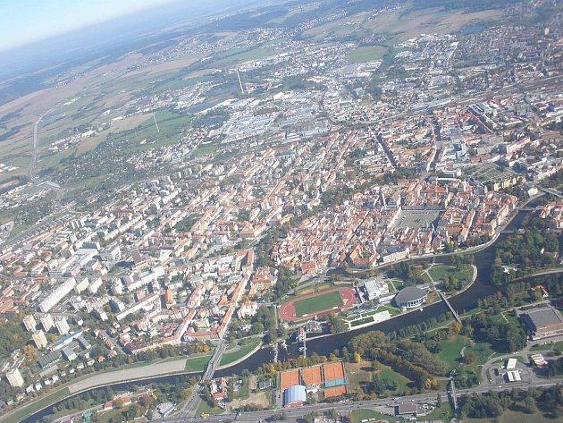 Pohled na České Budějovice z výšky.