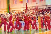 VICEMISTRYNĚ. Českobudějovické mažoretky při vystoupení na evropském šampionátu. Porota zde hodnotí nejen samotný výkon při cvičení, ale i kostým, vzhled a celkový dojem.