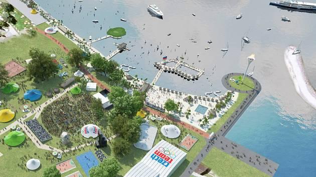 Vizualizace podoby olympijské parku na Lipně.