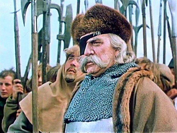 Záběr zfilmu Jan Žižka, který se zčásti natáčel na jihu Čech. Vhlavní roli ZdeněkStěpánek.
