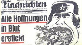 Titulní stránka OÖN 21. srpna 1968.