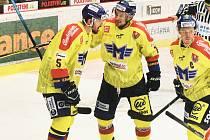 Českobudějovičtí hokejisté vyhráli v 11. kole I. ligy ve Vsetíně 5:3.
