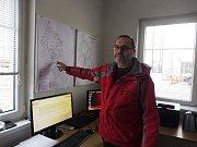 Jihozápad kraje zasáhla sněhová kalamita. Jan Vykouk, náměstek provozního úseku Správy a údržby silnic, a zároveň dispečer.