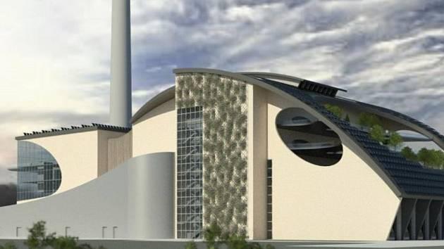 Výtopna Vráto v Českých Budějovicích se má v příštích letech proměnit na Zařízení pro energetické zpracování odpadu. Studie ZEVO je na vizualizaci.