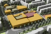 Českobudějovické sídliště Máj by v budoucnu mohlo mít jinou tvář než dnes. Přibýt má podle radnice centrální zelený pás i místa k parkování. Na reprodukci vizualizace jsou současné objekty bílé, šedé nebo červené. Původně plánované nové objekty jsou žluté