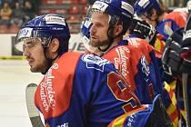 VÝHRA. Ve střehu byla včera českobudějovická střídačka. Na snímku jsou Martin Heřman (vlevo) a Vladimír Škoda. Hokejisté ČEZ Motoru hladce zvítězili nad Ústím nad Labem a doma v letošní sezoně ještě neprohráli.
