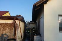 Požár domu na Včelné.