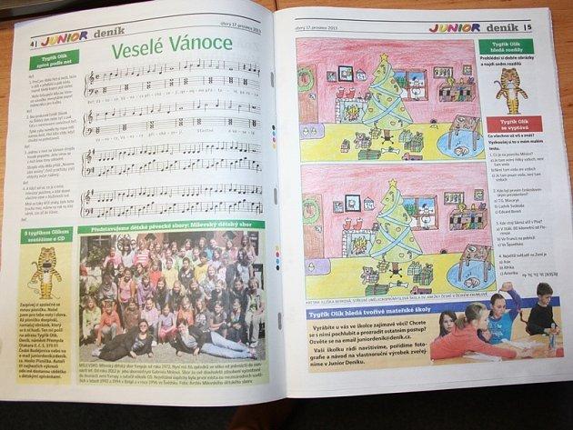 Příloha Junior Deník v každém čísle nabídne dětem luštění a představí dětské sbory..