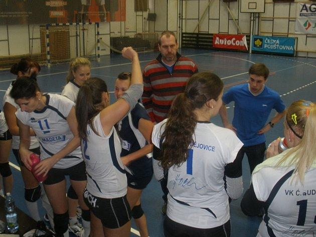 V této sezoně již nevede volejbalistky ČEZ v I. lize trenér Milan Šimonek (na snímku), ale Kateřina Píchová. Kapitánka Jiřina Karvánková je na snímku vlevo s č. 11.