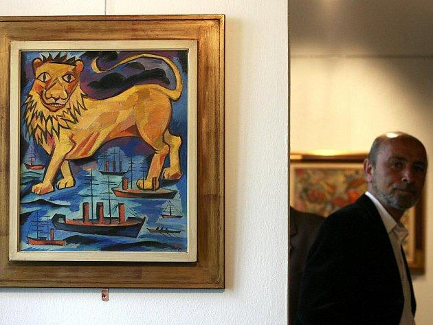 Olej na plátně Anglický lev z roku 1914, jedno ze 150 děl Natálie Gončarové v Aělově jihočeské galerii. Ta nyní čelí podezření, že na výstavě je řada padělků.