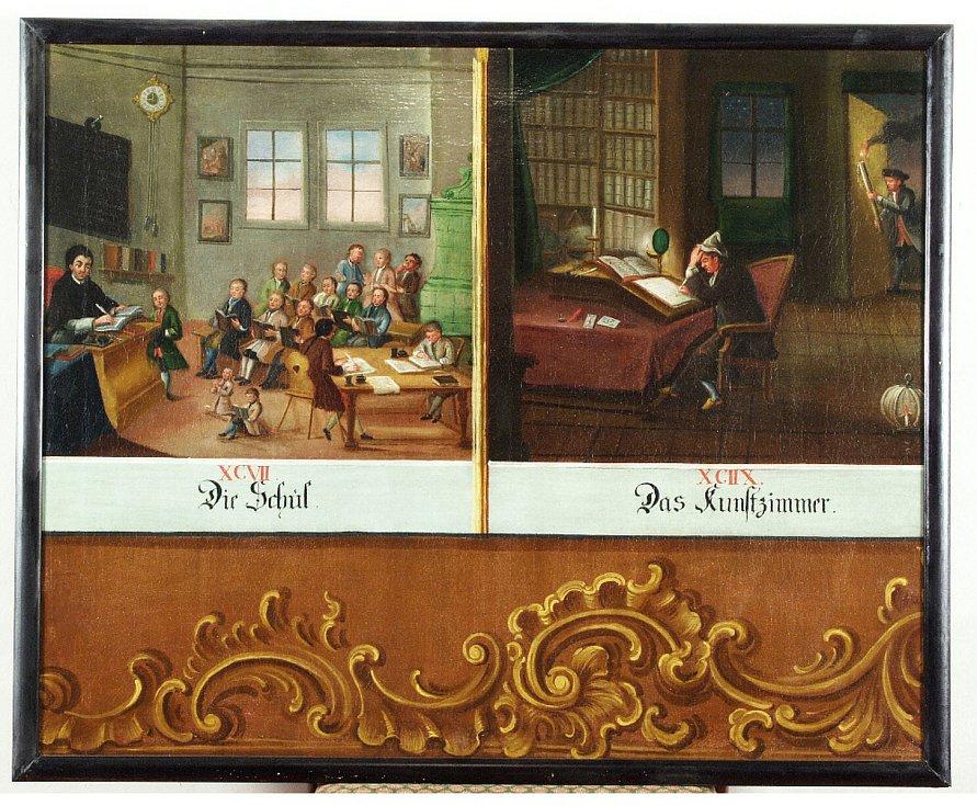 Tadeáš Schuegger - Orbis pictus: Škola a Kunstkomora ze souboru didaktických tabulí zlatokorunské školy (NPÚ - Státní zámek Český Krumlov) – mezi lety 1775–1785, olej na plátně.