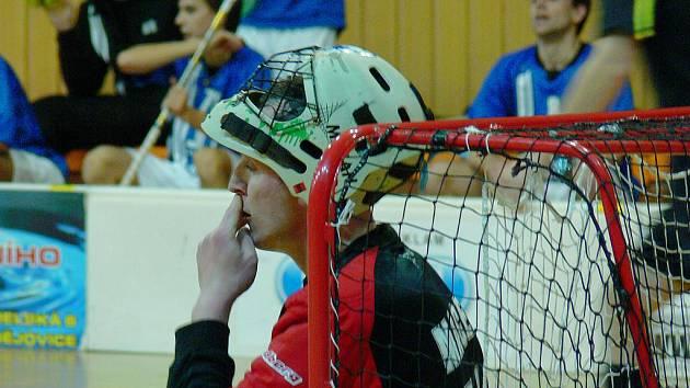 Nováčkovi z Českých Budějovic se v I. lize florbalu vzdaluje vidina play off: na snímku zpytuje svědomí brankář Macek.