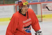 Tomáš Horna na tréninku HC Mountfield.