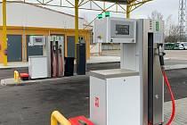 Čerpací stanice na CNG v areálu českobudějovického dopravního podniku.