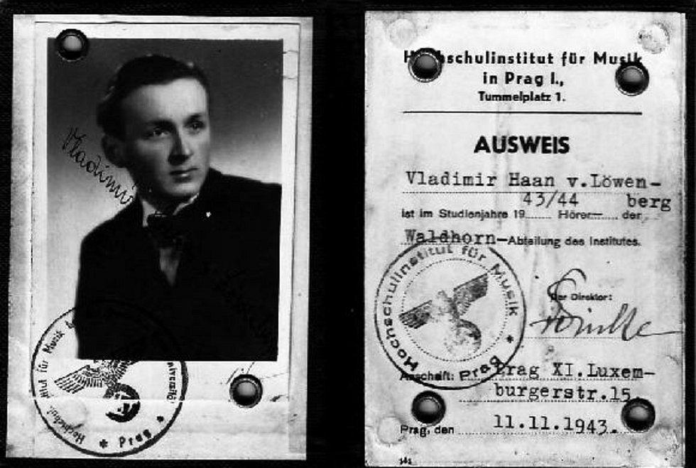 Průkaz Vladimíra Haana, dokládající jeho studium na hudební škole v období tzv. Protektorátu