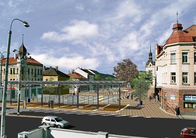 Počítačová studie ukazuje, jak bude vypadat Lannova třída v Českých Budějovicích směrem od Nádražní ulice.