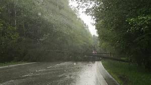 Vichr s lijákem se prohnal krajem. Polámal stromy, voda zalila silnice