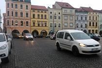 Doprava na náměstí Přemysla Otakara II. v Českých Budějovicích.