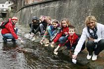 Děti ze Základní školy ve Vlachově Březí na Prachaticku pouštěly v pondělí po hladině potoka Libotyně od mostu k mostu papírové parníčky, do nichž vepsaly básně. Zapojily se tak pod vedením učitelky Markéty Horákové do festivalu Den poezie.