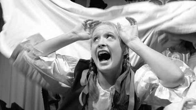 Loutkoherecký soubor Jihočeského divadla připravil na sobotu pohádkový příběh pro nejmenší na motivy bratří Grimmů Červená Karkulka. Na snímku ze čtvrteční generální zkoušky Lucie Škodová v roli Karkulky.