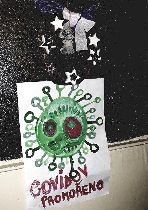 Domácí karanténa, malovali jsme obrázky.