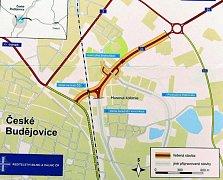 Mapka Ředitelství silnic a dálnic ukazuje, kudy povede nová spojnice Okružní a Nádražní ulice, která se v těchto dnech už v Českých Budějovicích staví.