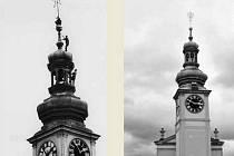 Odstraňování hvězdy z radniční věže v srpnu 1968 (vlevo). Radniční věž od západu v roce 2009.