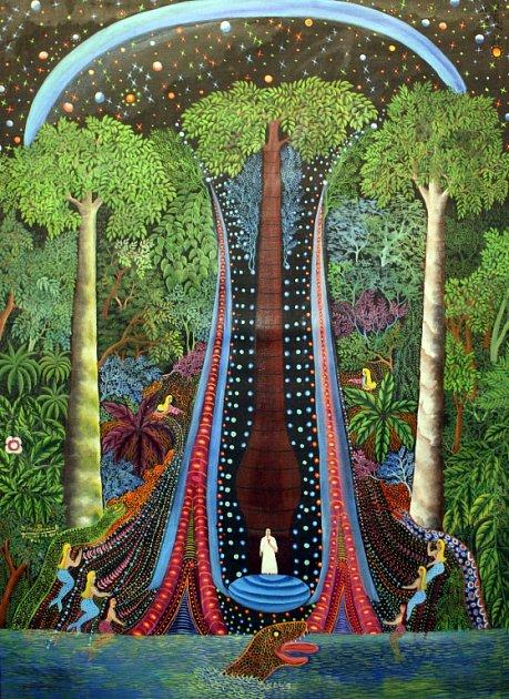 Otto Placht, malíř jihoamerické džungle, se představuje včeskokrumlovském Egon Schiele Art Centru. Výstava Duše pra/lesa přináší ještě díla syna šamana Dimase Paredese Armase a Jaroslava Hněvkovského. Na snímku dílo Paredese Armase.