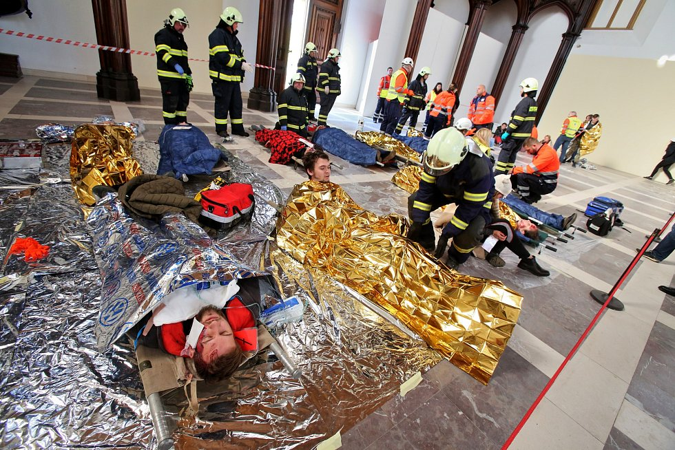 Složky integrovanégo záchranného systému cvičily na Hluboké zásah při, kterém vybuchla bomba a byli zranění návštěvníci památky.