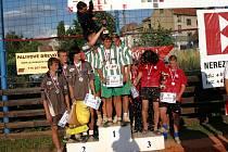 Mistři ČR v kategorii  trojic juniorů jsou z Dynama ČB (zleva): Musil, Vondrášek a Sadil.