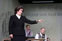 Boj rodičů s třídní učitelkou zachycuje hořká komedie Úča musí pryč!, kterou nově uvádí Jihočeské divadlo. Na snímku Daniela Bambasová jako učitelka Sabina Müller.