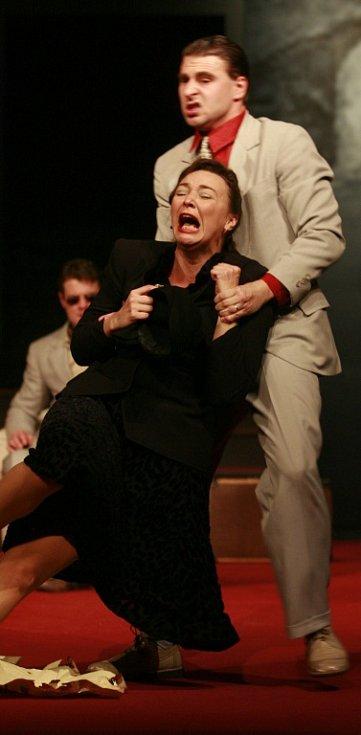 Herečka Lenka Krčková jako Francoise v dramatu Hostina dravců, Jihočeské divadlo, 2012.