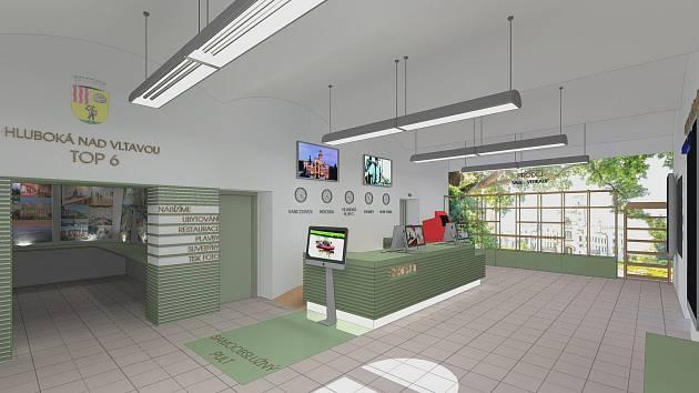 Takto by mělo vypadat infocentrum v Hluboké nad Vltavou po rekonstrukci. Vizualizace: