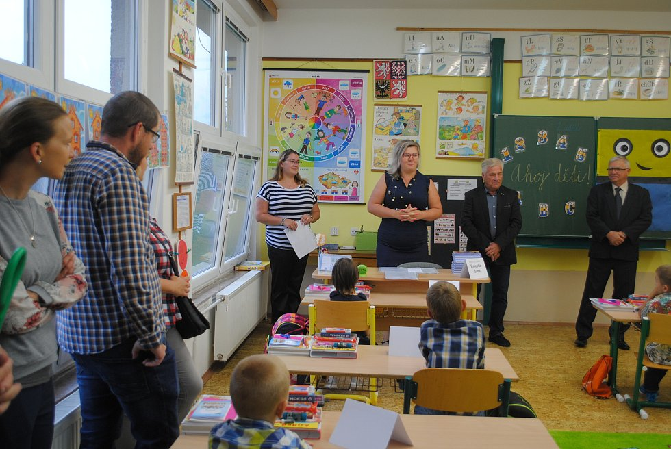První školní den v ZŠ a MŠ Horní Stropnice.