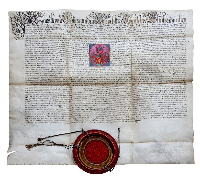 Erbovní listina, jíž byl dne 19. června 1694 Johann Christoph Haan povýšen císařem Leopoldem do šlechtického stavu. Zároveň mu byl udělen predikát von Löwenberg