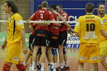 Volejbalisté českobudějovického Jihostroje se v extraligovém zápase s Ostravou radovali z vítězství jen ve dvou setech.