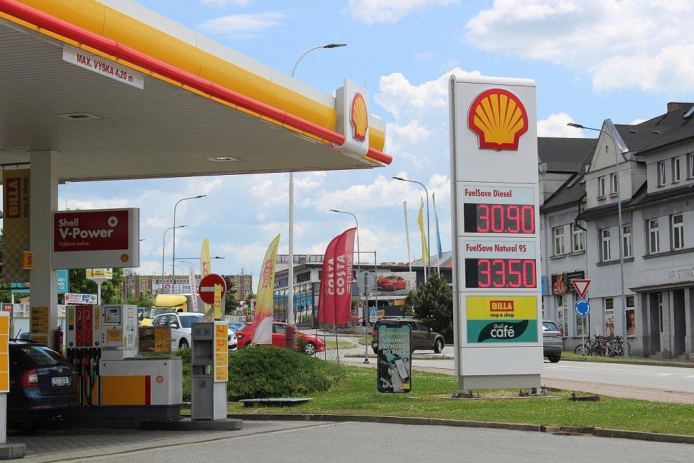 Tábor - čerpací stanice Shell v Chýnovské ulici.