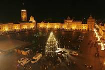 V Českých Budějovicích svítí od sobotního podvečera vánoční strom na náměstí Přemysla Otakara II.