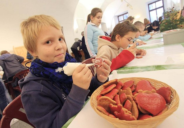 Ozdobit si perníček, vyrobit závěsné ozdoby z ořechů nebo vystřihovat Betlém mohou od pondělí děti v Radniční výstavní síni v Českých Budějovicích.