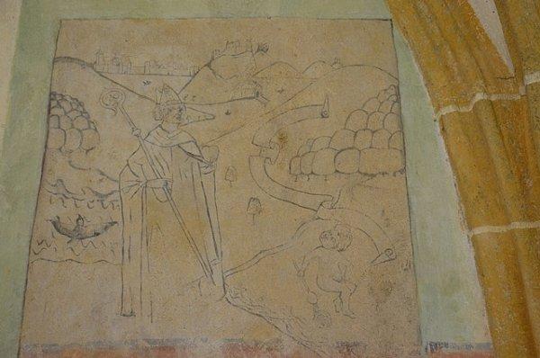 Nástěnná malba představující scénu ze života sv. Augustina. Vpozadí je údajně úplně první zobrazení Českých Budějovic.
