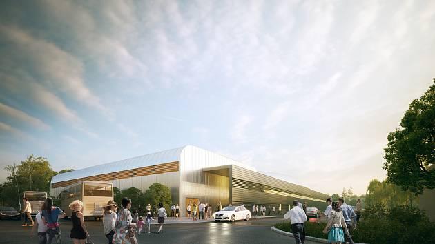 Dvě palubovky místo jedné, to je klíčová přednost projektu nové sportovní haly. Obě budou zcela samostatné i s hledištěm. Vizualizace a model: