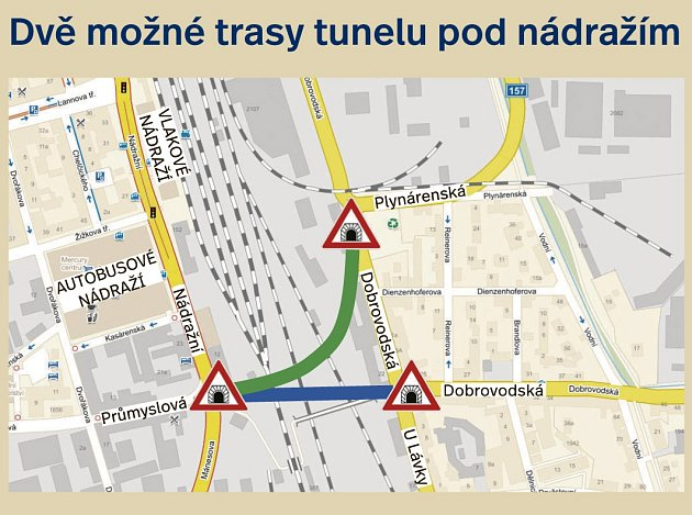 Dvě možnosti tunelu pod nádražím.